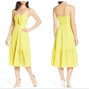 Eliza J Yellow Polka Dot Midi Dress 💛